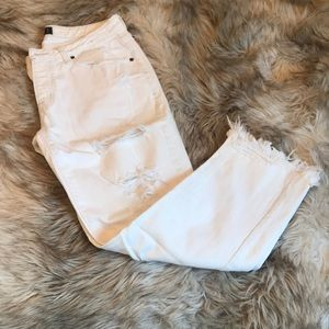 White Distressed Low Rise BF Jeans